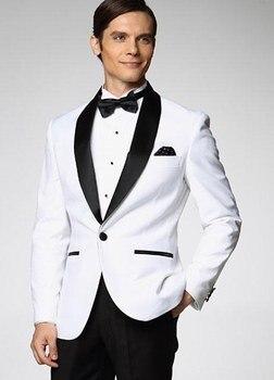 Fashionable One Button White Groom Tuxedos Shawl Lapel Groomsmen Men Blazers 2 piece Suits (Jacket+Pants+Tie) NO:335