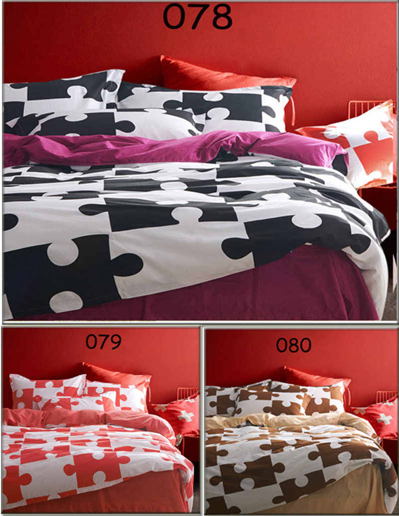 Black and red bedding - Black White Red Brown Jigsaw Twin Full Queen King 3pcs 4pcs Bedding Bedclothes Set Sheets Quilt