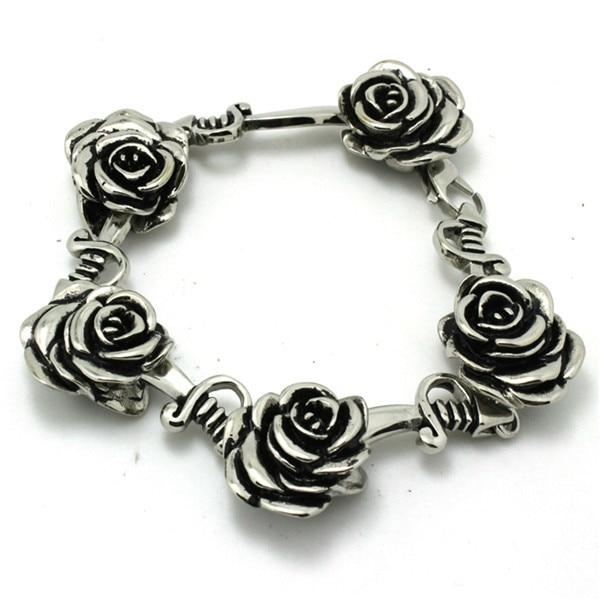 BC0031 Fashion Romantic Rose Flower Bracelet  316 Stainless Steel Hot Sale Wholesale Cool Best Gift For Lover Bracelet