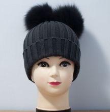 Два лисий мех англичане шляпа для ребенка несколько цвет, реальный лисий мех помпон шляпа шерсть шляпа для девочек и мальчиков
