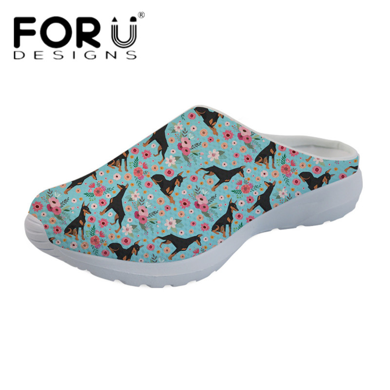 FORUDESIGNS Casual Summer Beach Sandals Women Doberman Flower Print Slip-on Slippers Female Loafers Mesh Breathable Water Shoes forudesigns cartoon shark print women flats shoes sneakers casual women s summer mesh shoes beach girls loafers slip on zapatos