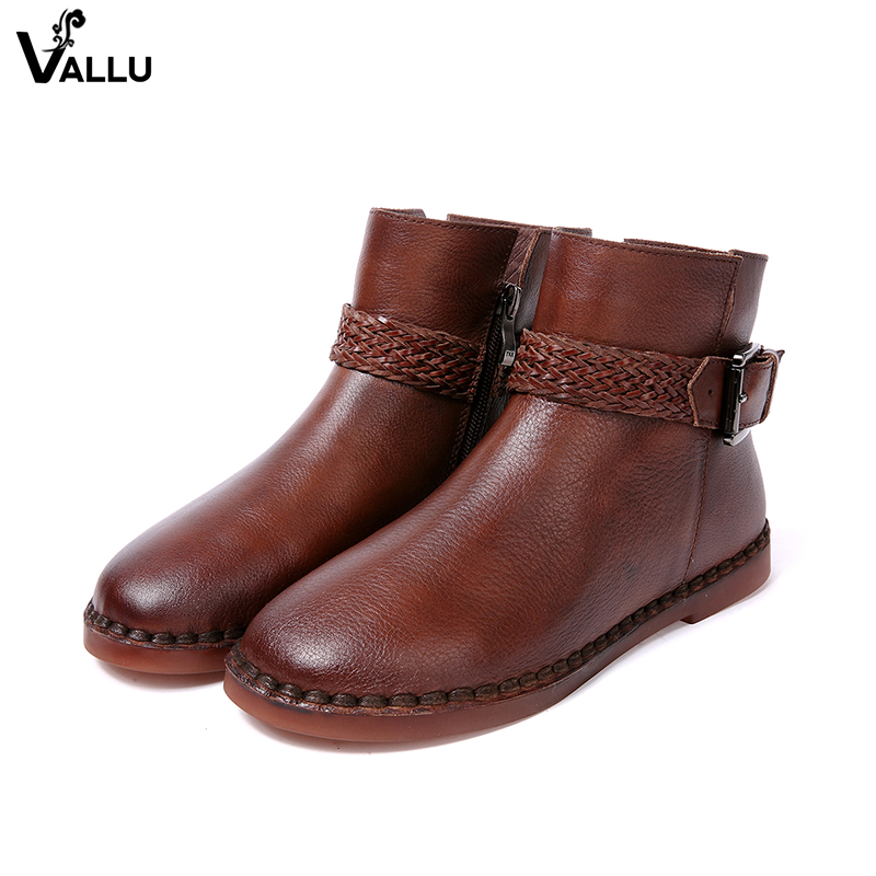 fafabab34b0 Woven Belt Buckle Women  s Boots Low Cut Cow Leather Female Ankle Short  Booties Zipper Vintage Style Sewing Lady Shoes-in Ankle Boots from Shoes on  ...