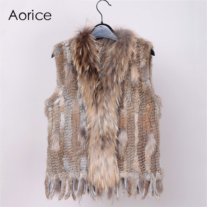 18 colors Women Genuine Knitted Rabbit Fur Vests with tassels Raccoon Fur Trimming Waistcoat wholesale drop
