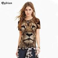 Qybian vrouwen top shirts De Leeuw Dier T-shirt Zomer Korte Mouw Vrouwen Mannen Nieuwe Mode Creatieve Cool 3d T-Shirt