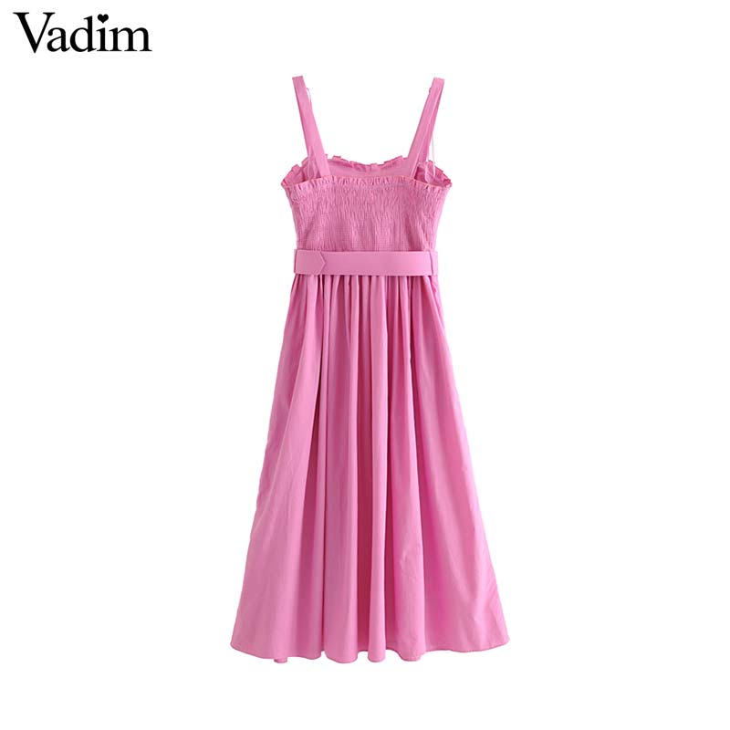 Vadim women sleeveless pink dress bow tie sashes Spaghetti strap backless elastic back pockets female stylish midi dresses QC521