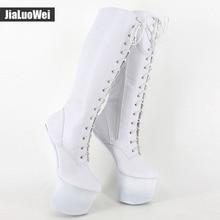 jialuowei 8 inch heel Slugged Bottom Hoof boots with no heel Heelless platform sexy knee high boots Plus size 36-46