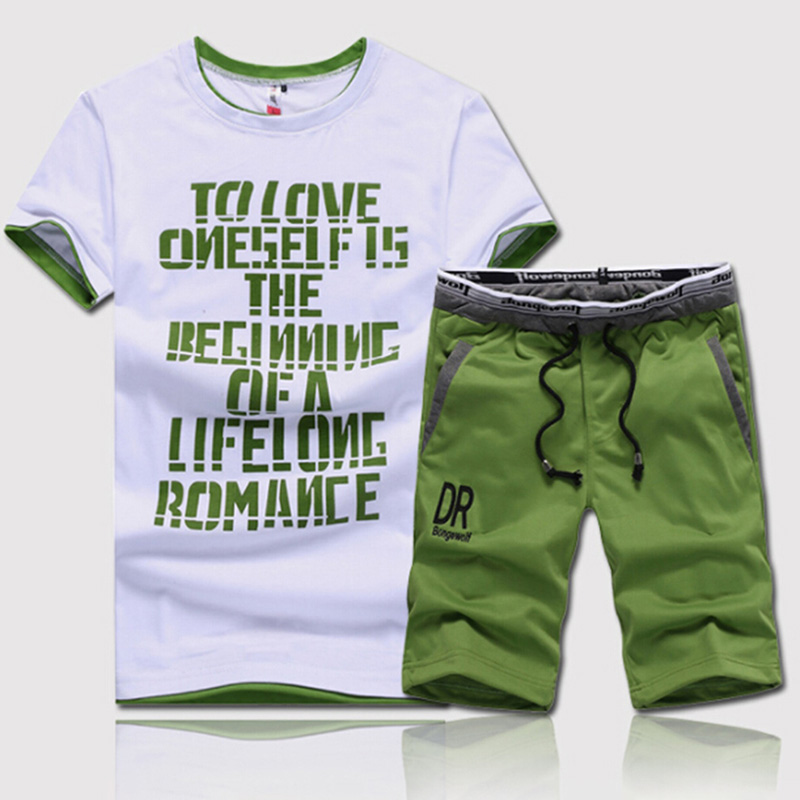 New Fashion Summer Men Sets Fitness Clothes Man Casual O-neck Letters Printed T-Shirt+ Drawstring Shorts 2 Pieces Sets