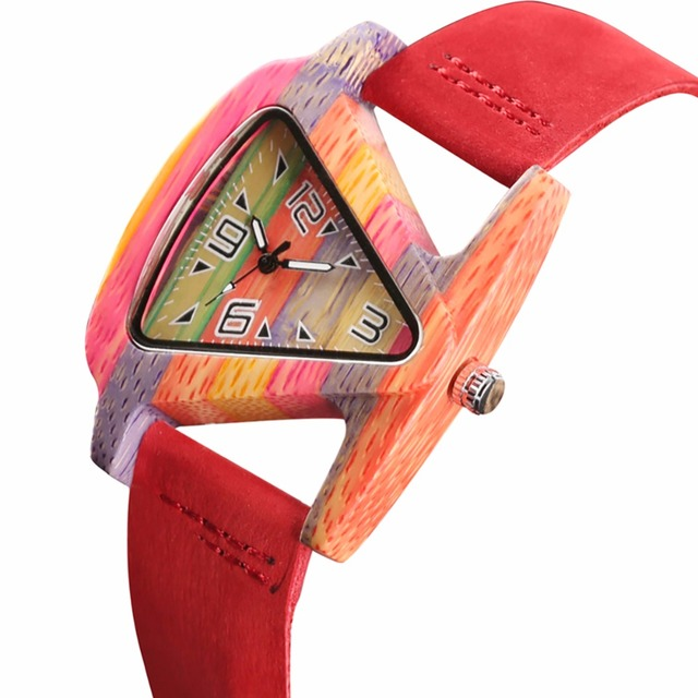 Creative Women Wood Watches Unique Colorful Wooden Triangle Hollow Quartz Wristwatch Ladies Elegant Fashion Genuine Leather Hour 3