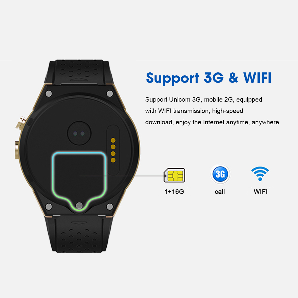 3 Montre intelligente 3G Android 7.0 Smartwatch Bluetooth pour homme