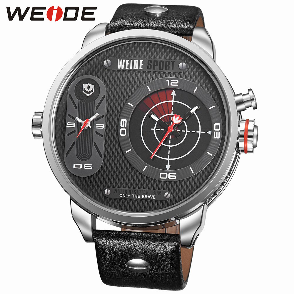 WEIDE Sport  Large Dial Quartz Watch for Men 30m Waterproof Black Leather Strap Casual Clock Relogio Masculino Gift / WH3409 fashion men s quartz curren watch white dial black leather strap waterproof men s wrist watch clock with gift box 8119