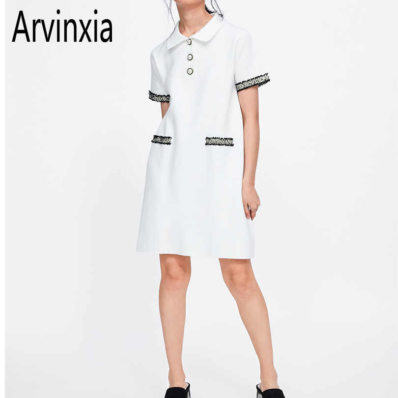 Arvinxia ZA Sexy Appliques Town-down Collar Woman Dress New Solid Loose Women Vestidos Fashion Outwear Short Sleeve Lady Dresses