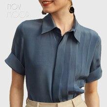 Senhoras tops e blusas de seda natural estilo escritório mulheres rosa azul  manga curta plissada pure camisas de seda blusa femi. 871c67e962479