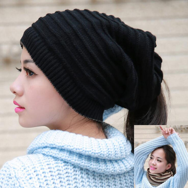 2Pcs Autumn Winter Warm Unisex Hats Baggy Hip Hop Hats Bonnet Skullies&Beanies Knitted Caps For Men And Women Gorros Caps