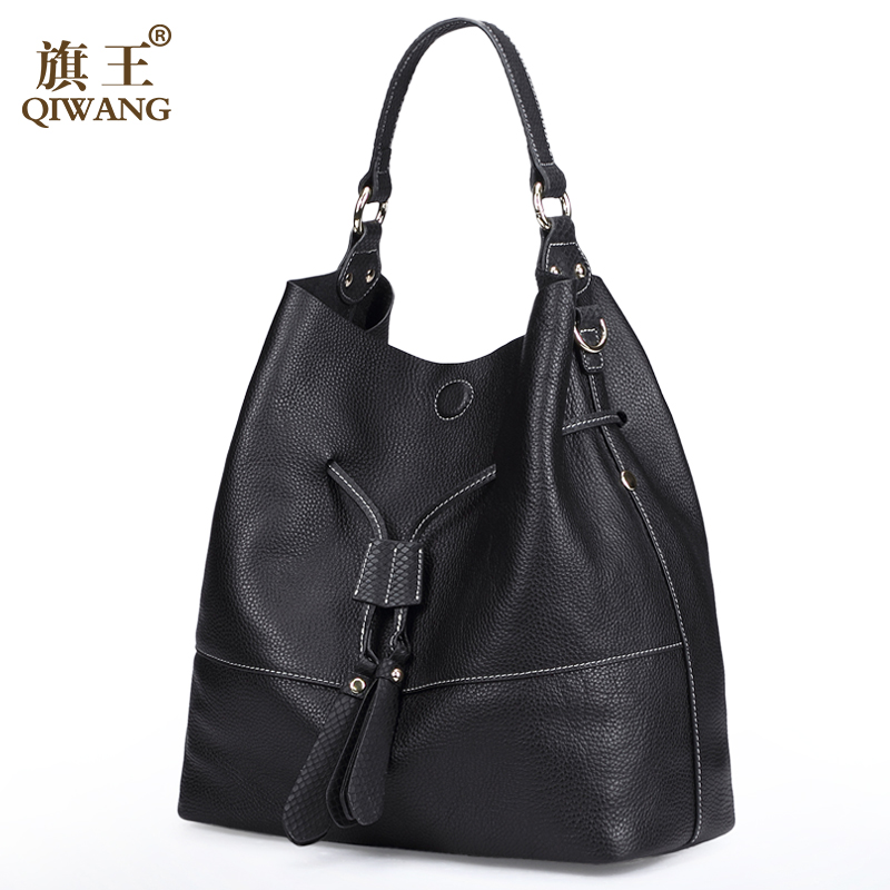 QIWANG Cowhide Genuine Leather Bags Brand Designer Fashion Women Bags Spanish Brand Bucket Bag Handbag High Quality Bucket-in Shoulder Bags from Luggage & Bags    1