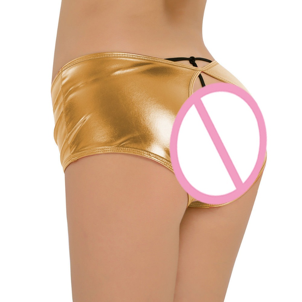 Candy Color Open Crotch Low Waist Hot Short Women Patent Leather Blingbling Exotic Briefs Mini Shorts Sexy Night Club PU Panties image