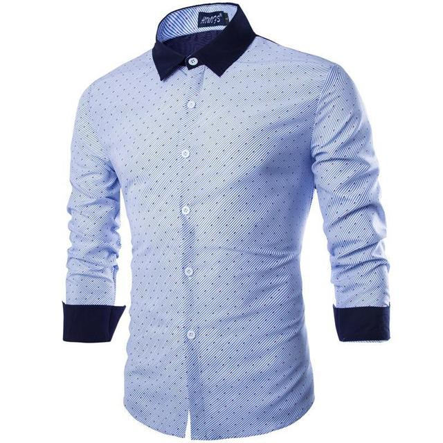 623c269fd1 Fashion Male Long Sleeves Stripe Sale New Clothes Uomo Shirts Full Polka  Dot Masculina Chemise Homme
