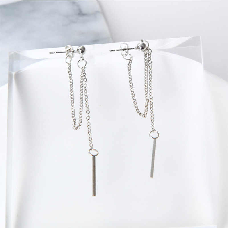 New fashion triangle fringed chain gold and silver earrings Earings fashion jewelry 2018 long earrings statement earrings