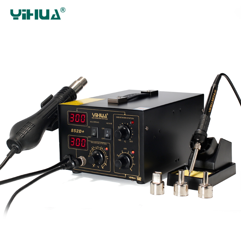 Phone Repair YIHUA 852D+ Brushless Fan Hot Air With Iron Soldering Station Air Soldering Machine