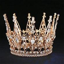 Moda yarışmasında gelin Tiara Rhinestone taç saç aksesuarları düğün saç takı gösterisi elbise Headdress kraliçe Diadem balo