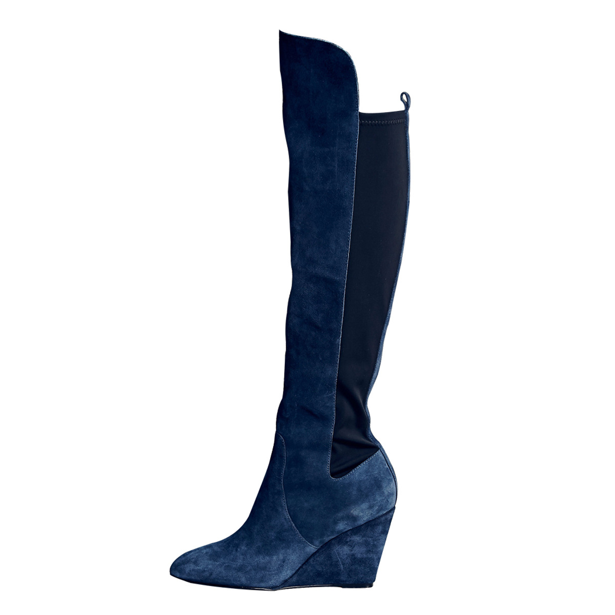 European and American ladies blue suede round high heel Knee Boot slope and long boots