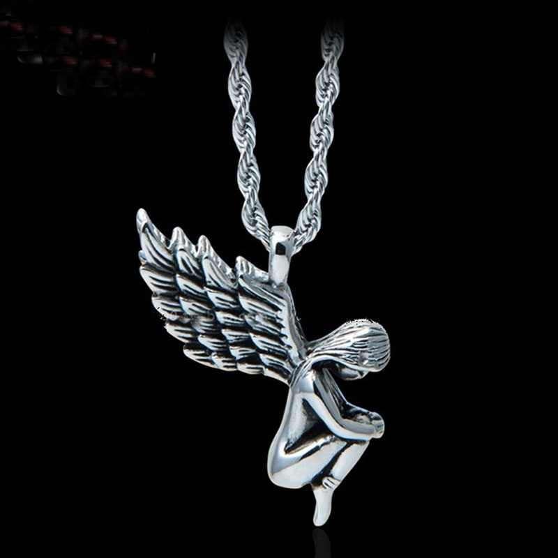 1 pcs Fashion Delicate  Style Unisex Punk Style Stainless Steel Angel Girl Pendants Necklace NEW