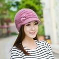 Kingsnower Woolen Cap Ladies Women's Winter Thicken Velvet Hats Female Knitted Warm Floral Hat for Girls Beanies Skullies JA9030