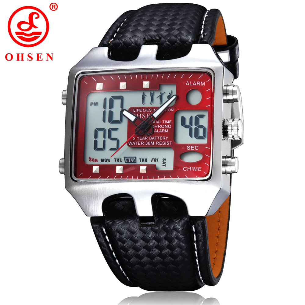 New OHSEN Men s Sports Watches Outdoor Military Watch Red Dial Black Leather Strap Casual Dress