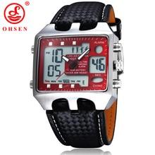 New OHSEN hommes montres de sport de plein air militaire montre rouge cadran noir bracelet en cuir montre – bracelet de tenue décontractée relógios Masculinos