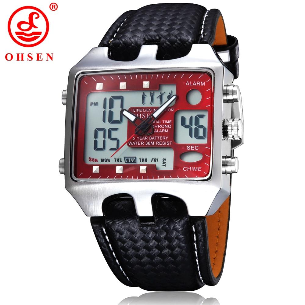 Prix pour New OHSEN hommes montres de sport de plein air militaire montre rouge cadran noir bracelet en cuir montre - bracelet de tenue décontractée relógios Masculinos