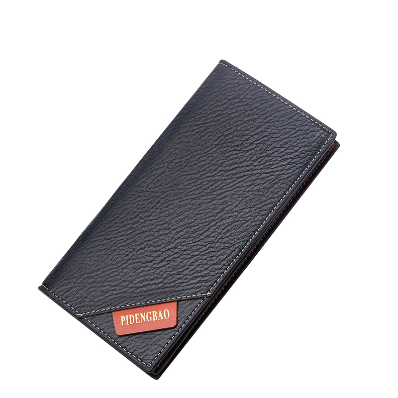 Ultra Thin Long Wallet For Men PU Leather Solid Card Holder Purse European Style Business Clutch Male Purse Wallet lorways 016 stylish check pattern long style pu leather men s wallet blue coffee