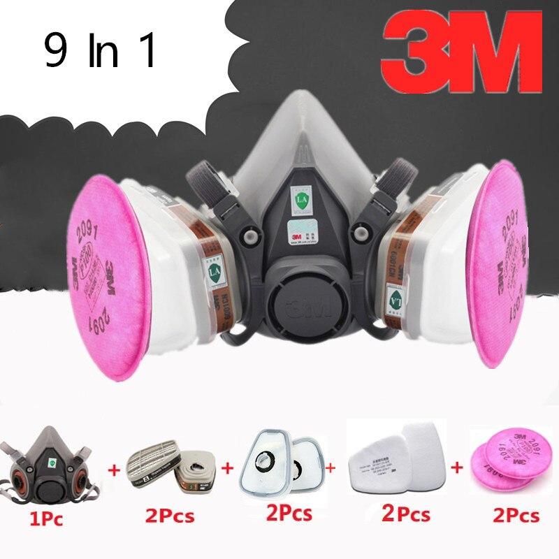 9 en 1 3 M 6200 2091 demi-masque à gaz militaire peinture en aérosol respirateur filtre cartouche de protection anti-poussière chimique travailleur masque