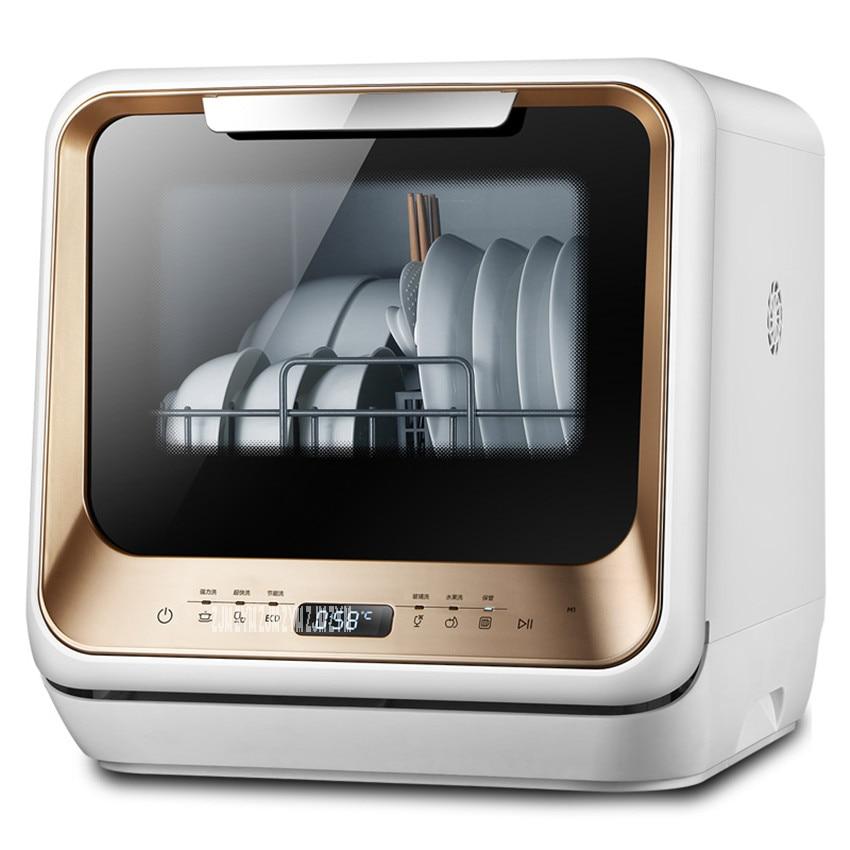 M1 Free Installation Dishwasher Home Full Automatic Desktop Mini Smart Embedded Dish Bowl Wash Machine UV, Tempered Glass Shell