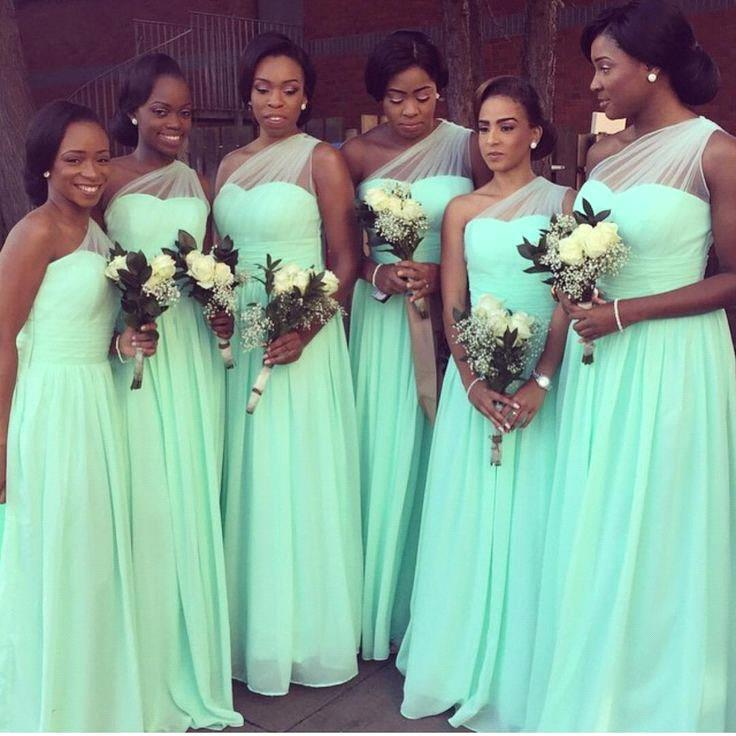 Mint Green 2019 Cheap   Bridesmaid     Dresses   Under 50 A-line One-shoulder Chiffon Long Wedding Party   Dresses