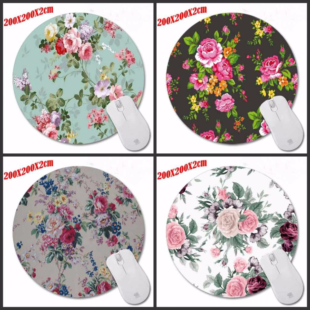 Top Selling Flowers New Small Size Round Mouse Pad Non-Skid Rubber Pad Customization Supported Decorate Desk 200*200*2CM