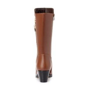 Image 4 - GKTINOO Botas de invierno hasta la rodilla para mujer, calzado cálido con piel de lana en el interior, zapatos de tacón alto de piel suave, Botas de nieve con plataforma