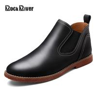 Rock River 2017 Fashion Kanye West Chelsea Boots Men Ankle Men Boots Genuine Leather Shoes Men