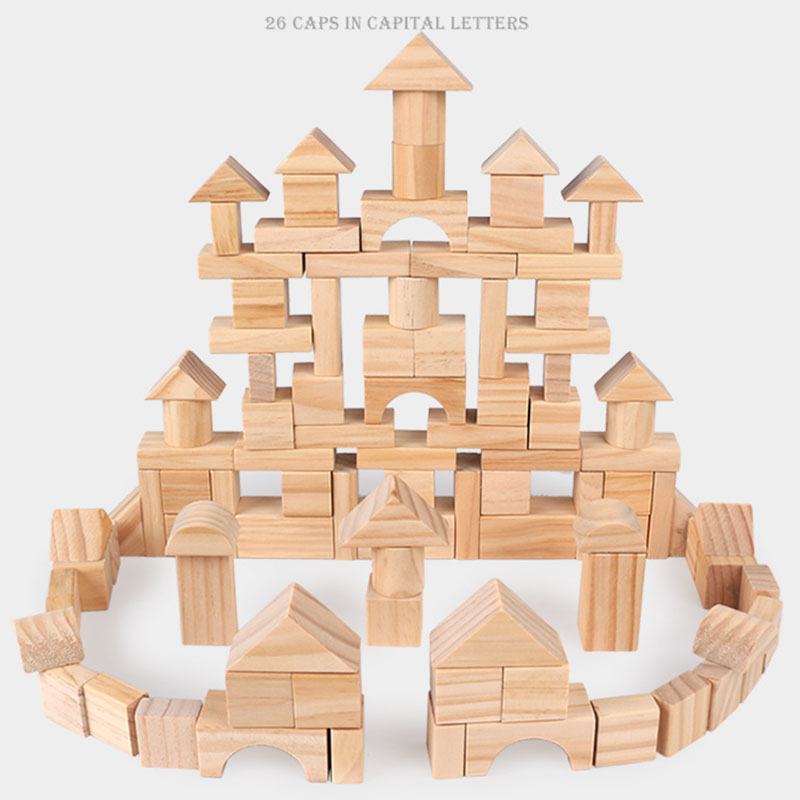 Us 3239 25 Off100pcs Diy Building Blocks For Kids Wooden Montessori Toys No Painting Non Toxic Early Educational Geometric Assembled Toys In