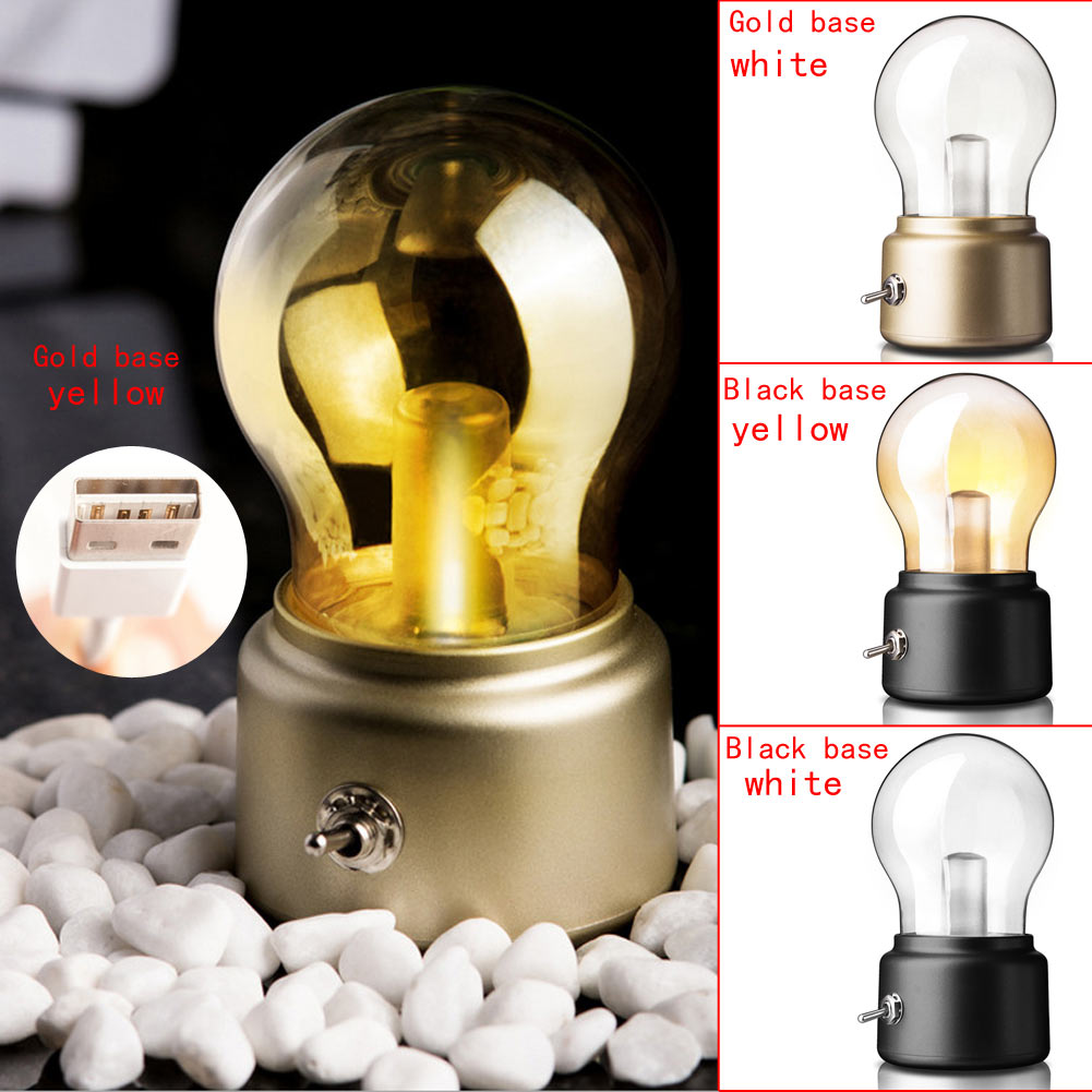 Vintage Style Led Nightlight Usb Rechargeable Metal Lever Switch Bulb Atmosphere Home Decoration Light Lamp