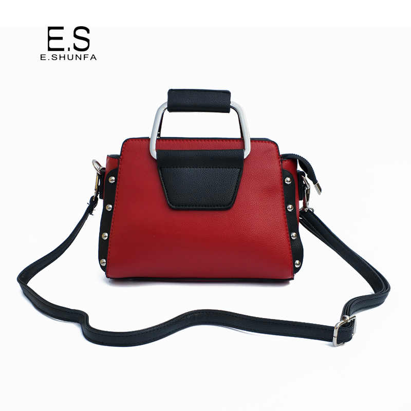 New Fashion Shoulder Bag Woman PU Leather Crossbody Bags For Women 2018  Rivets Patchwork Casual Shoulder 02d4b337d3d12
