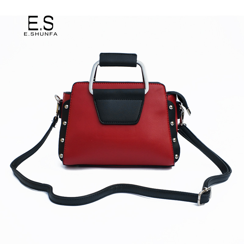New Fashion Shoulder Bag Woman PU Leather Crossbody Bags For Women 2018 Rivets Patchwork Casual Shoulder Bag Black Red Orange berzimer elegant vintage women shoulder bag stylish black green red orange pink shoulder stylish crossbody bags for women