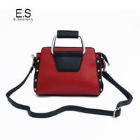 New Fashion Shoulder Bag Woman PU Leather Crossbody Bags For Women 2018 Rivets Patchwork Casual Shoulder Bag Black Red Orange