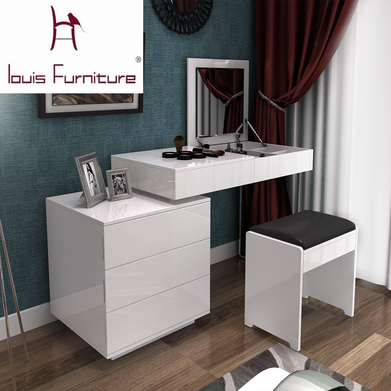 Fashion White Paint Small Apartment Telescopic Minimalist Modern Computer Desk Dresser Bedroom Combination Of Dual