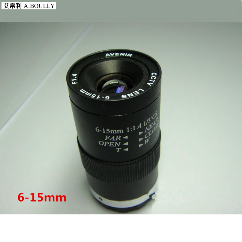 AIBOULLY 6-15MM manual aperture lens, outdoor monitoring can zoom lens, monitor HD lens ,Industrial lens 1/3 target CS interface удлинитель zoom ecm 3