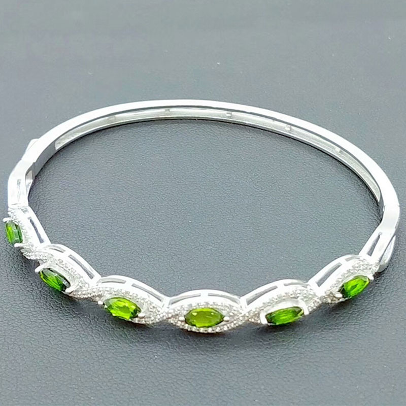 RADHORSE 925 Silver Bracelets  for Women Fine Jewelry 100% Natural Green Diopside 925 Silver Mosaic Green gem BraceletsRADHORSE 925 Silver Bracelets  for Women Fine Jewelry 100% Natural Green Diopside 925 Silver Mosaic Green gem Bracelets