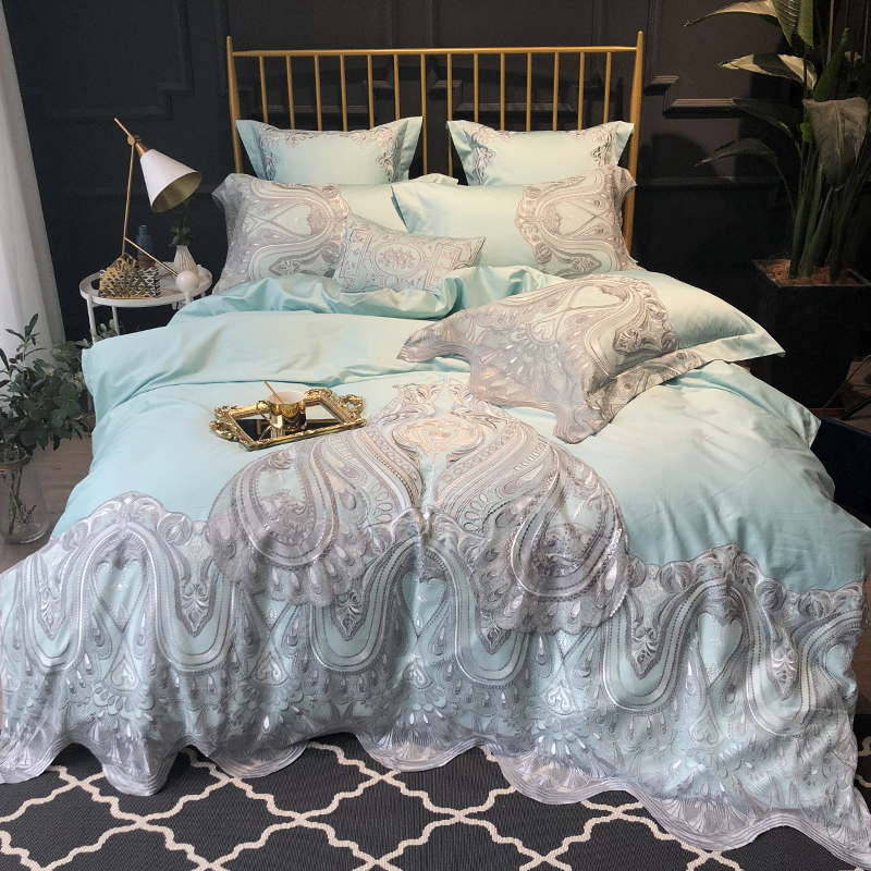luxury 120S Egyptian cotton Embroidered Bedding set Queen King Europe Noble Lace Edge Duvet cover Bed sheet set Pillowcase blueluxury 120S Egyptian cotton Embroidered Bedding set Queen King Europe Noble Lace Edge Duvet cover Bed sheet set Pillowcase blue