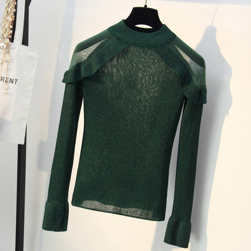 2019 Korean Sexy Mesh Shoulder Bottom Tops Flare Sleeve Lurex Women's Knitted Sweaters Fall Winter Soft Comfortable Sweater