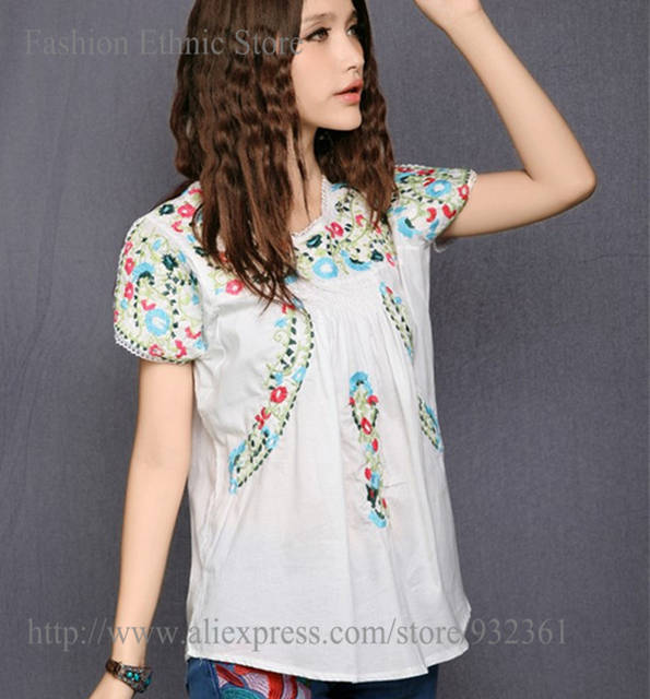 Vintage 70s SCALLOP Embroidery Mexican BOHO Blouse Women Blouses Cotton  Women Shirts Summer Tops L blusas d4a61fc27a51