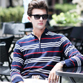 High quality Long sleeve men's polo shirt spring autumn new brand cotton striped polo men business casual Solid  polo shirt
