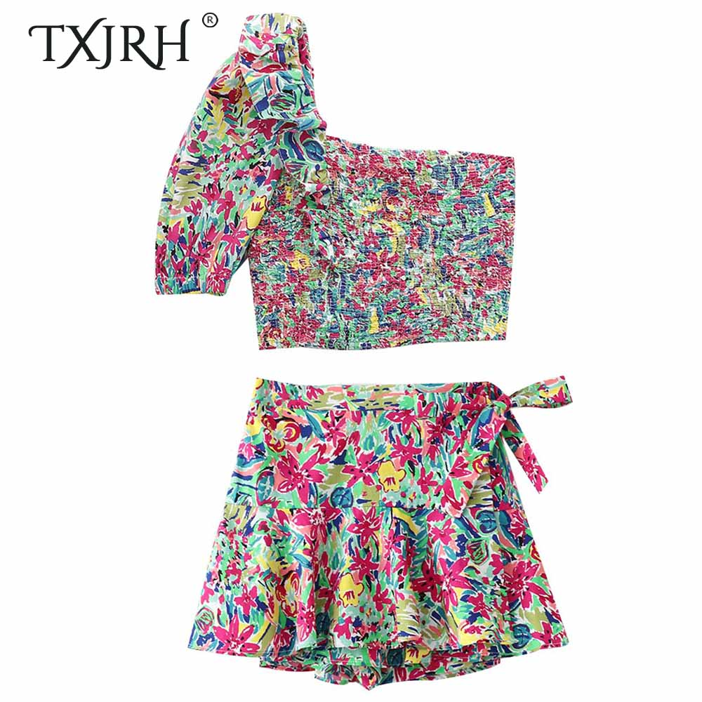 TXJRH Stylish Colorful Floral Print Blouse One Sleeve Ruffles Shirt Crop Tops Waist Sashes Tied Bow Shorts Skirts 2 Pieces Set