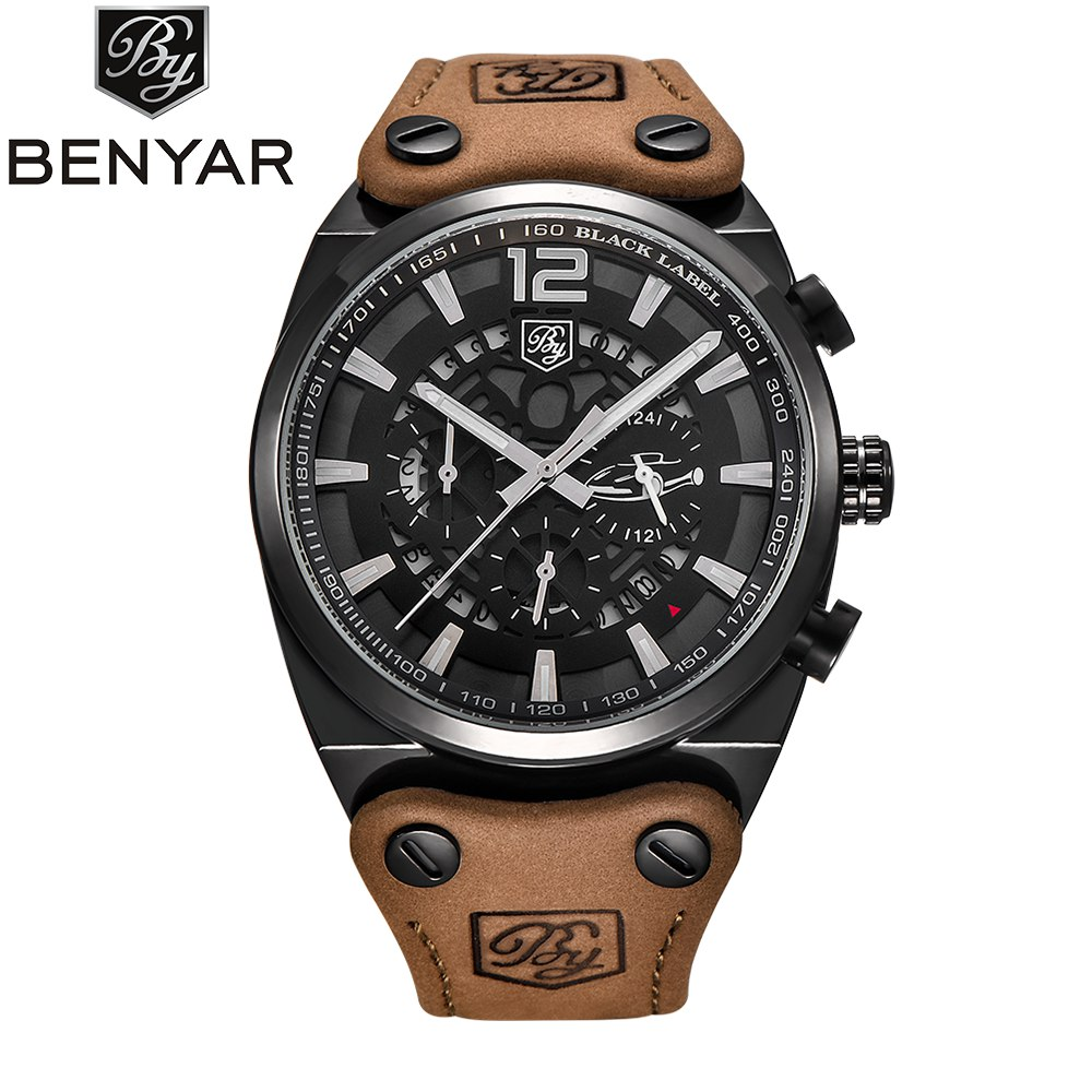 BENYAR Luxury Men Watch Skeleton Chronograph Quartz Man Outdoor Big Dial Sport Watch Military Army Male Clock Relogio Masculino gift hot crazy selling army leather belt table trend of retro fashion blue big dial quartz watch clock men military sport watch